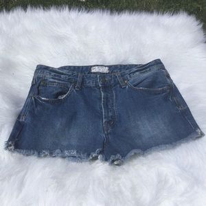 Free People Denim High-Rise Button Jean Shorts 30